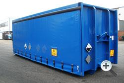 Alustahl Containertechnik - Kippaufbau mit Schiebeplane